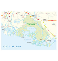 Map of the southern french regional natural park vector