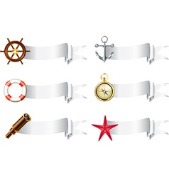 marine tools white ribbons vector image