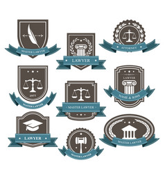 Master lawyer and attorney emblems blazons and ba vector