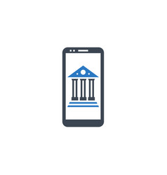 mobile banking related glyph icon vector image