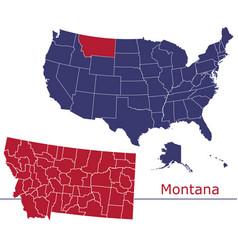 montana map counties with usa map vector image