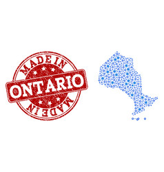Mosaic map of ontario province with engine vector