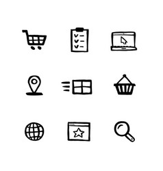 naive style shopping icon set e-commerce online vector image