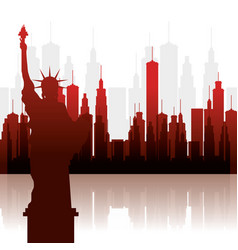 New york city statue of liberty scene vector