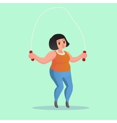Obese young woman Jump Rope Workout Funny cartoon vector