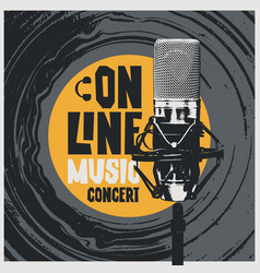 Online music poster with vinyl record and mic vector