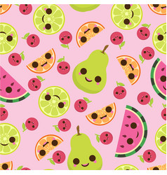pattern with cute fruits vector image