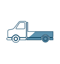 Pickup truck vehicle transport side view vector