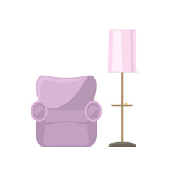 pink armchair and floor lamp vector image