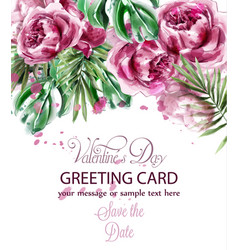 pink peony flowers watercolor banner vector image