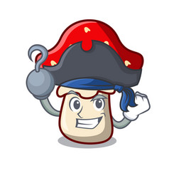 Pirate amanita mushroom character cartoon vector