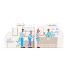 queue people at pharmacy buying medicine vector image