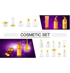 realistic cosmetic packages collection vector image
