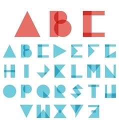 Red and blue font ABC in geometric style vector image