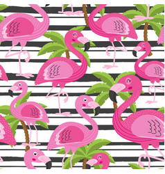 seamless pattern with flamingo and tree palm vector image