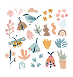 set hand drawn spring or summer nature elements vector image