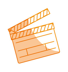 silhouette clapper board action video filmstrips vector image
