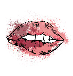 sketch drawing bitten lip on background of vector image