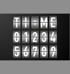 Split flap numbers for time display vector
