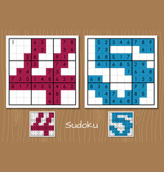 Sudoku game with the answers 4 5 numbers vector