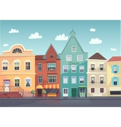 Sunny City street Doors and windows boutiques vector