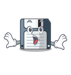 Surprised floppy disk in the character funny vector