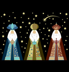 Three wise men christmas three biblical kings vector