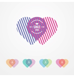 Two connected hearts color vector