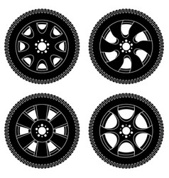 wheel with tyres black icons set vector image