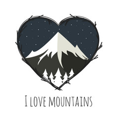 with mountains and night sky vector image