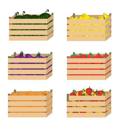 wooden box with fruits and vegetables vector image