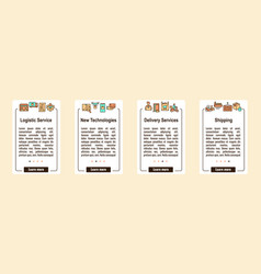 worldwide post delivery linear icons set vector image