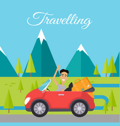 young man traveling car vector image