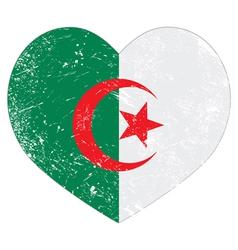 Algeria retro heart shaped flag vector image vector image