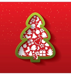 Christmas tree of flat icons New Year vector image