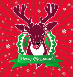 winking and show its tongue deer with christmas vector image vector image