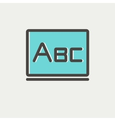 Big letters ABC on the blackboard thin line icon vector image