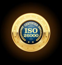 Iso 26000 standard medal - social responsibility vector