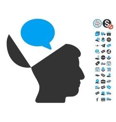 Open mind opinion icon with free bonus vector