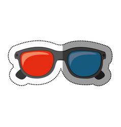 silhouette sticker of 3d cinema glasses vector image