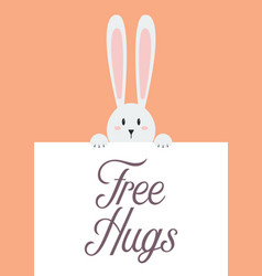 white rabbit with free hugs sign vector image