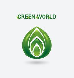 abstract green eco symbol vector image vector image