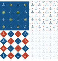 marine seamless pattern set 3 vector image vector image