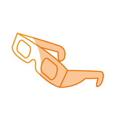 silhouette 3d glasses to see movie in the cinema vector image