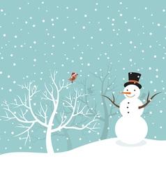 Snowman in winter vector image vector image