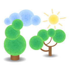 textured trees cloud and sun optimistic spring vector image vector image