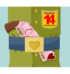 Valentines day Love gun Military clothing and vector image