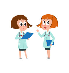 Two comic woman doctor characters filling in vector