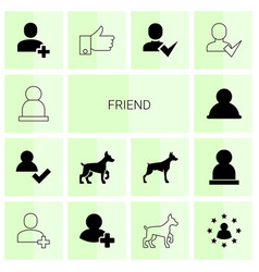 14 friend icons vector image