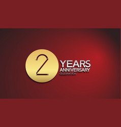 2 years anniversary logotype with golden circle vector